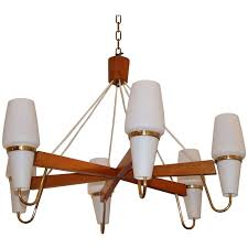 mid century modern danish chandelier in teak wood brass and white glass for