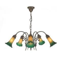 snowdrop victorian art nouveau style chandelier ermilk green shades