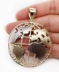10k two tone gold round globe planet