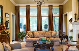 wonderful brown curtains for floor to ceiling windows glass added modern chandelier over midcentury sofa and wooden table in luxury living room interior
