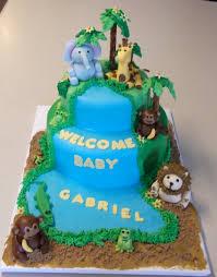 Safari Theme Baby Shower With Giraffe Monkey And Elephant Baby Shower Safari Cakes