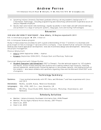 Cover Letter Support Technician Resume It Support Technician