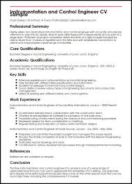 Resume Writing For Engineering Students Instrumentation And Control Engineer Cv Sample Myperfectcv