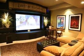 media room lighting ideas. exciting basement media room decor using cream fabric sofa and black leather ottoman also frame wall lighting ideas