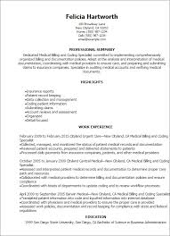 Medical Billing Resume Template Interesting Medical Billing And Coding Specialist Resume Template Best Design