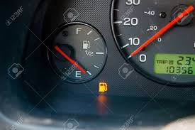 Gas Warning Light A Gas Guage In A Car Reads Empty And Shows The Warning Light