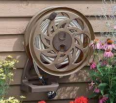 wall mount hideaway brown hose reel