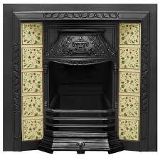 laurel black finish cast iron fireplace tiled insert