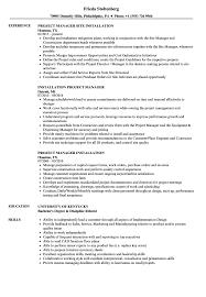 elevator resume sample installation project manager resume samples velvet jobs