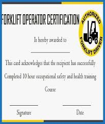Free Forklift Certificate Template Forklift Certification Card Template Free Beautiful