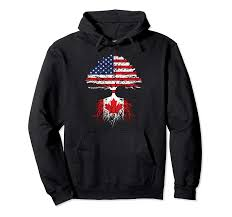 Amazon Com Canadian Roots American Grown Canada Flag Hoodie
