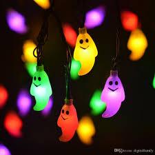 Solar Skeleton Lights Halloween Christmas Solar 5m Led Pumpkin String Light Ghosts Spiders Skeletons Bats Led String Light For Home Party Decor Outdoor String Lights Led