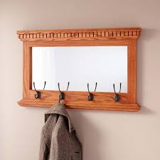 Solid Oak Coat Rack Mirrored Solid Oak Coat Rack with Classic Double Hooks Hardware 2