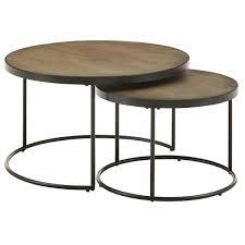gray medium round wood coffee table