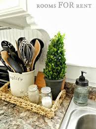 decor kitchen kitchen: kitchen basket platter with green element salt and pepper shakers and napkin holder