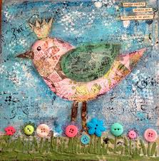 Image Magazine Bird Mixed Media Collage Canvas Quilted Cupcake Ten Tips Mixed Media Art Canvas Collage Art Tips Ideas