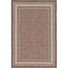 outdoor border brown 6 x 9 rug