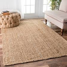 nuloom handwoven jute ribbed solid area rugs 5 x 8 natural