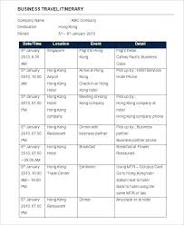 Group Travel Itinerary Template