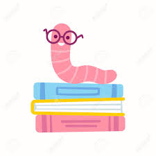 cute cartoon bookworm with gles on stack of books simple vector clip art ilration