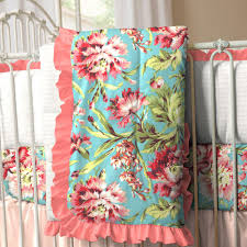 Plush Crib Comforters | Baby Quilts | Carousel Designs & Coral and Teal Floral Crib Comforter Adamdwight.com