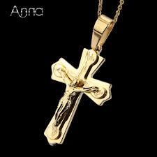 whole a n necklace pendant brand necklace silver gold color jewelry antique cross crucifix cross pendant necklaces for women men rose gold