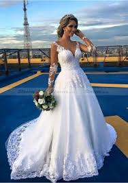 Court Train Ball Gown Full Long Sleeve V Neck Covered Button