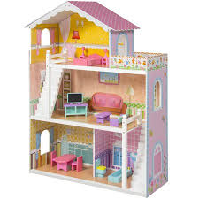 large childrens wooden dollhouse fits barbie doll house pink with furniture barbie dollhouse furniture cheap