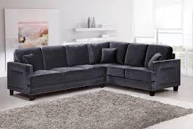 Light Grey Velvet Sectional Meridian Furniture 655 Ferrara Grey Velvet Upholstery