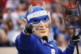 Oct 19, 2013; Charlottesville, VA, USA; The Duke Blue Devils mascot cheers from the sidelines against the Virginia Cavaliers in the third quarter at Scott ... - 7766378