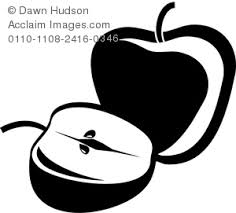 apple clip art black and white. clip art silhouette of two apples, a whole apple and an sliced in half black white