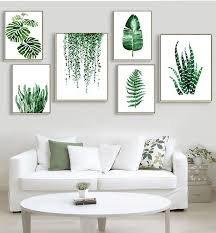 Wall Art - Modern <b>Green Tropical Plant Leaves</b> Canvas (A-64)   Leaf ...