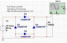 full wave bridge rectifier circuit multisim simulation