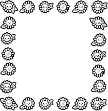 ひまわりの囲み素材カラー白黒 保育園幼稚園のおたよりフリー
