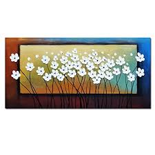 Modern Bedroom Wall Art Best Wieco Art White Flowers Oil Paintings On Canvas Wall Art Living Room