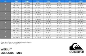 Quiksilver Wetsuit Size Chart Thewaveshack Com