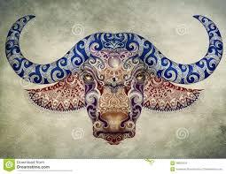 татуировка бык голова буйвола с рожками иллюстрация штока