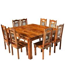 Large Solid Wood Dallas Square Dining Table  Chair Set - Dining room table solid wood
