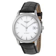 longines flagship automatic white dial black leather mens watch zoom longines longines flagship automatic white dial black leather mens watch l48744122
