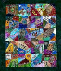 acolchados --- soy un artista y me encanta esta colcha ... usted ... & crazy quilting using blocks cut from repeating patterned fabric. Adamdwight.com
