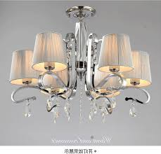 amusing chandelier with shades at portico polished chrome 8 light white string