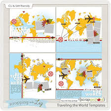 August Calendar And Traveling The World Templates Scrapbook