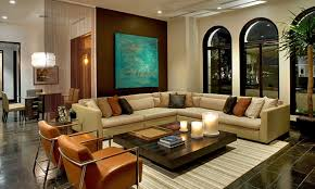 family room lighting design. White Striped Carpet And Enticing L Shaped Sofa Using Brown Leather Armchair Chic Family Room Lighting Design