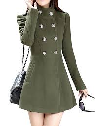 oberora womens winter trench jacket double ted wool blend pea coat with belt