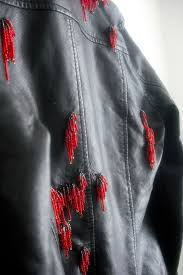 fix up old pleather jacket repair ling fake leather clothing seed bead fringe beaded jacket