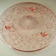 vintage pink depression glass footed cake plate cake stand gy daisy pattern us