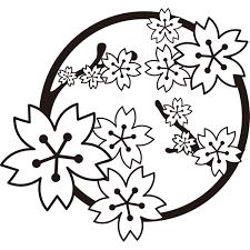 年中行事 桜の花モノクロ 無料イラストpowerpointテンプレート