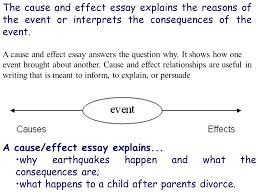 the cause and effect essay explains the reasons of the event or  the cause and effect essay explains the reasons of the event or interprets the consequences of