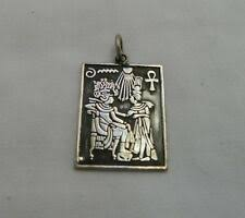 Egyptian Sterling <b>Silver King</b> Tut &amp; <b>Queen</b> Pendant 1.75&#034