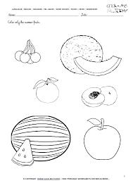 Kindergarten Worksheets Junior Fruits Worksheet 5 Color Only The ...